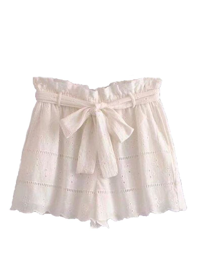 'Hadlee' Belted Lace Shorts