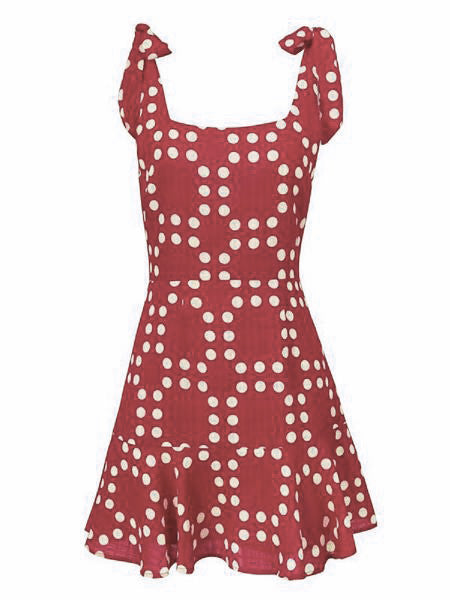 'Sarrey' Tied Strap Pattern Dress (2 Colors)
