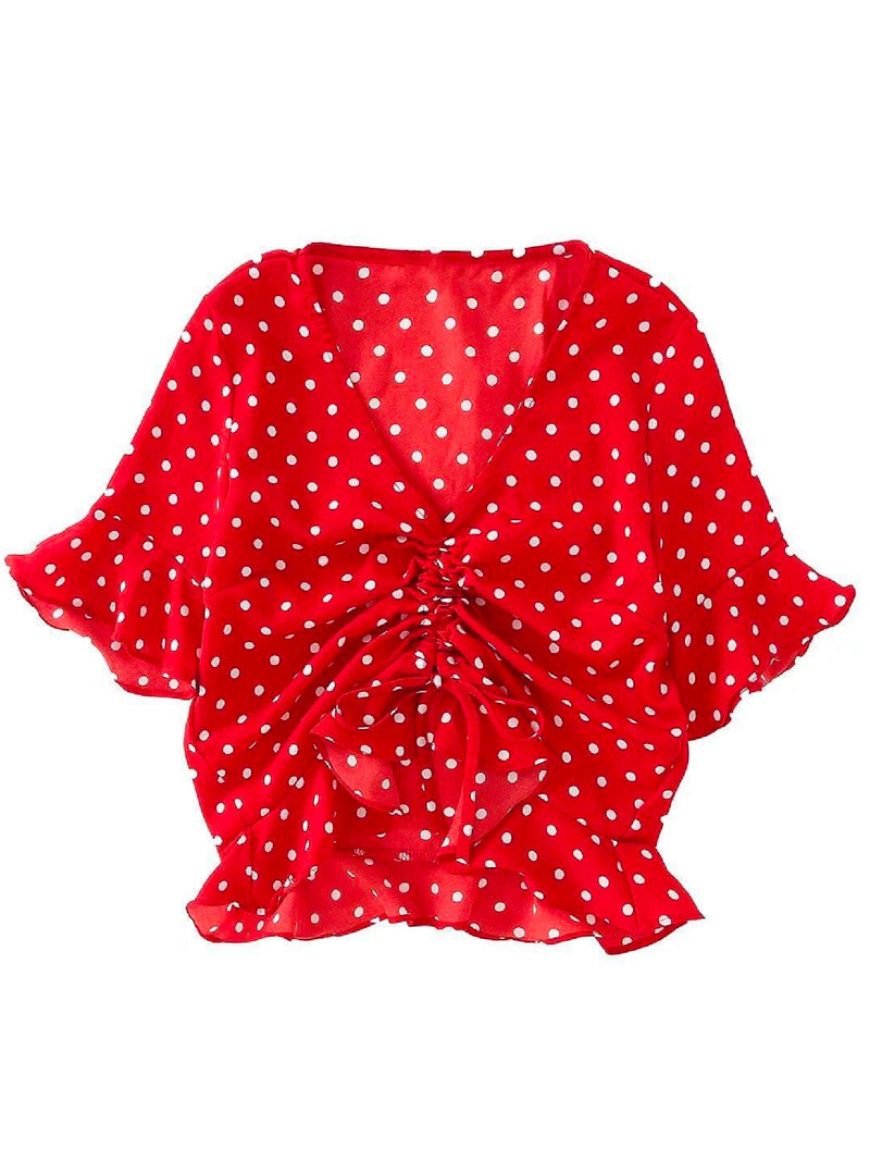 'Dise' Dotted Front Twisted Top (2 Colors)