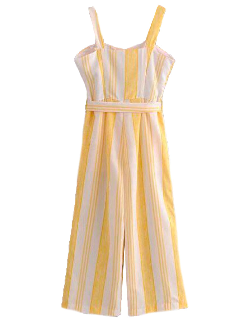 Goodnight Macaroon 'Dayana' Striped Belted Jumpsuit Back