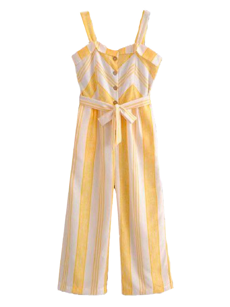 Goodnight Macaroon 'Dayana' Striped Belted Jumpsuit Front