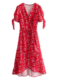 Goodnight Macaroon 'Meredith' Red Floral Print Tied Wrap Midi Dress Front
