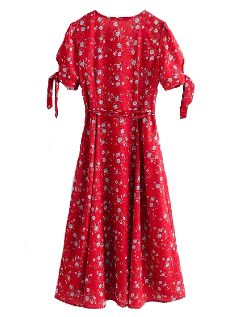 Goodnight Macaroon 'Meredith' Red Floral Print Tied Wrap Midi Dress Back