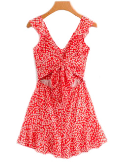 Goodnight Macaroon 'Cora' Front Tied Frill Floral Dress Front