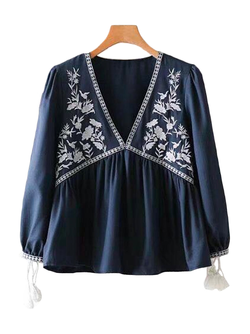 'May' Tassel Embroidered Peplum Top