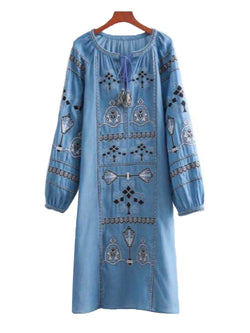 'Blake' Embroidered Chambray Dress
