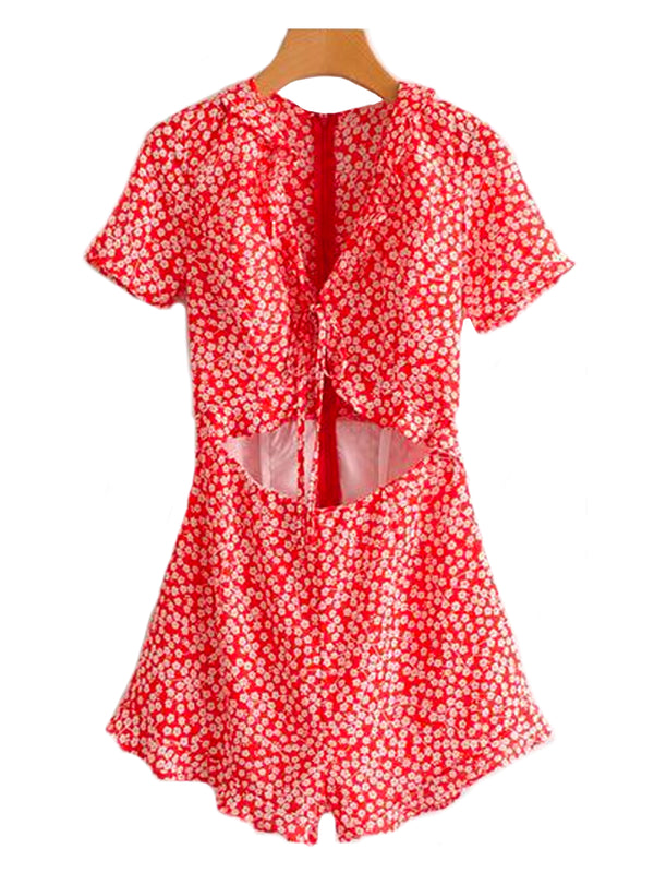 'Laverne' Red Floral Cut Out Romper