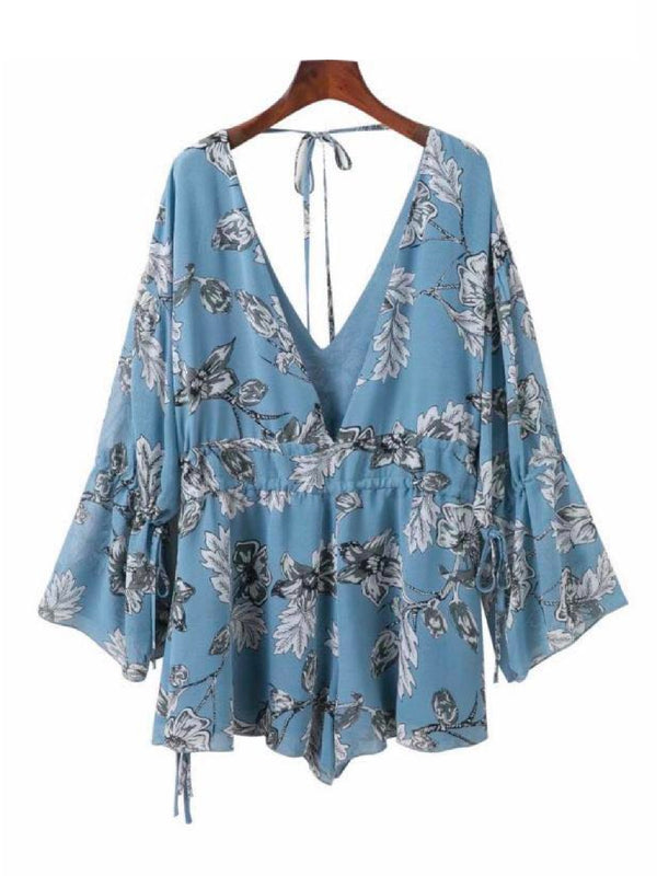 'Balay' Deep V Flared Sleeve Floral Romper