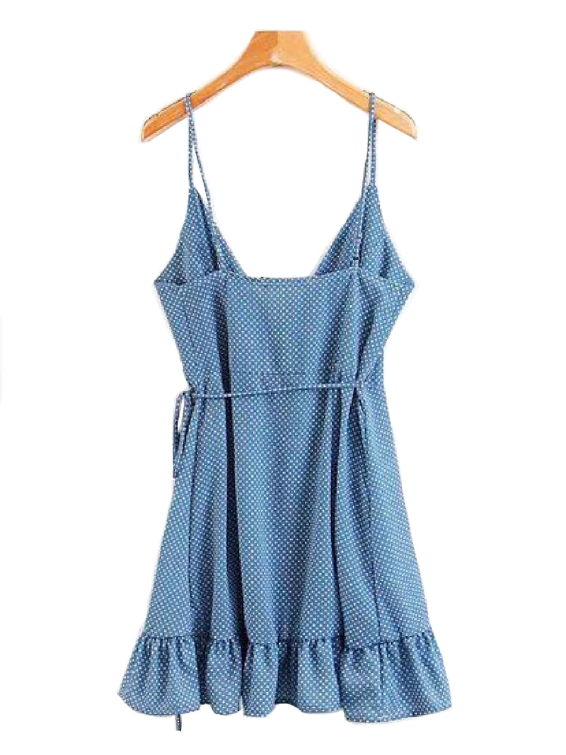 Goodnight Macaroon 'Lyric' Polka Dot Frill Wrap Dress Blue Back
