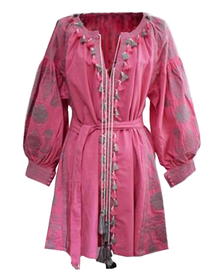 Goodnight Macaroon 'Barney' Boho Embroidered Tassels Tunic Dress Red Front