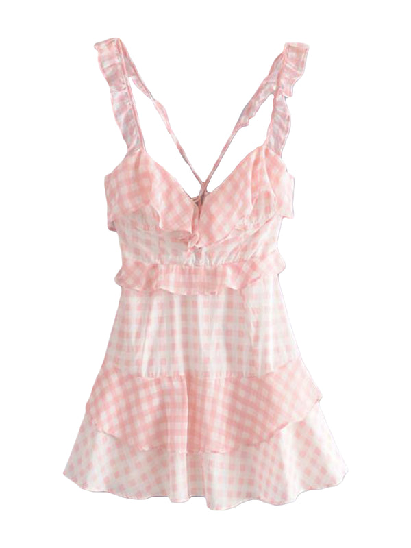 'Mooney' Lace-up Ruffle Gingham Dress (2 Colors)