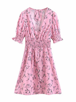 'Ovie' Floral Ruched Buttoned Midi Dress