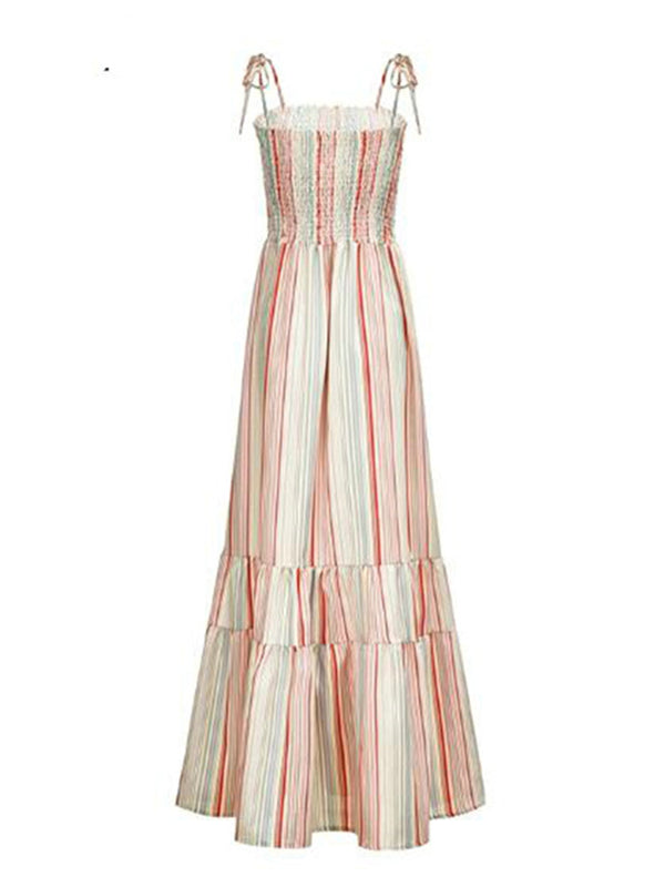 'Candy' Rainbow Striped Ruched Maxi Dress