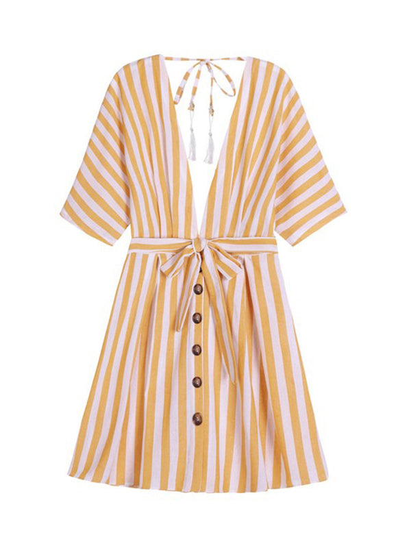 'Lovely' Striped Open Tassel Belted Dress (3 Colors)