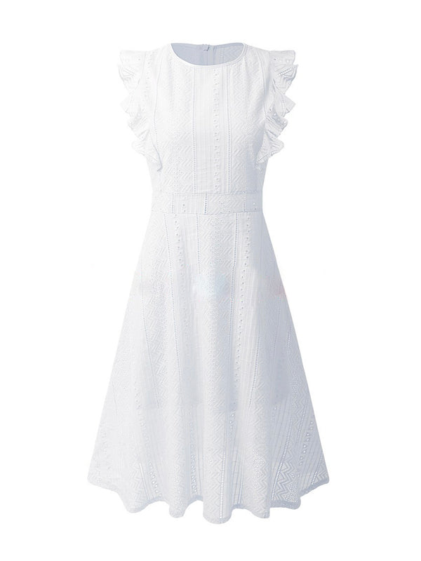 'Gladys' Eyelet Ruffled Midi Dress (2 Colors)