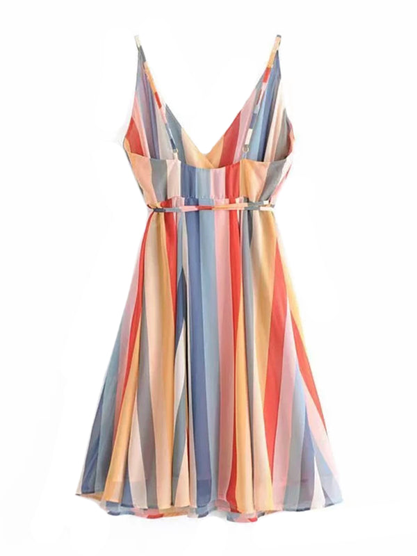 'Lucy' Rainbow Striped Tied Dress