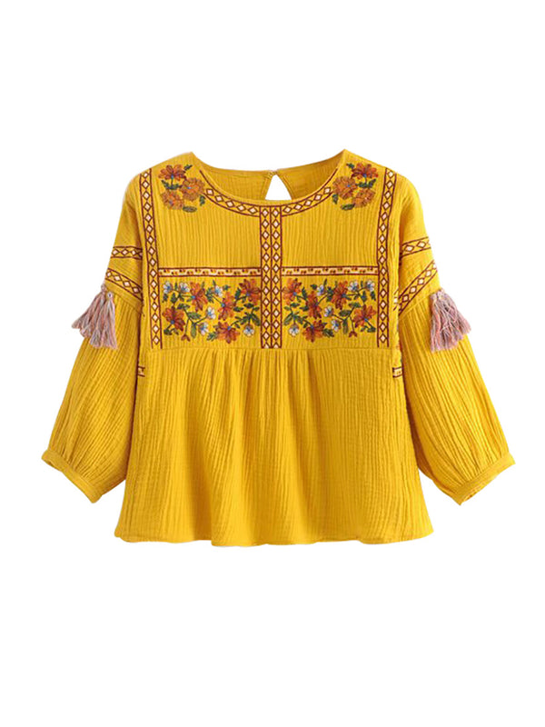 'Flocos' Embroidered Tassel Top