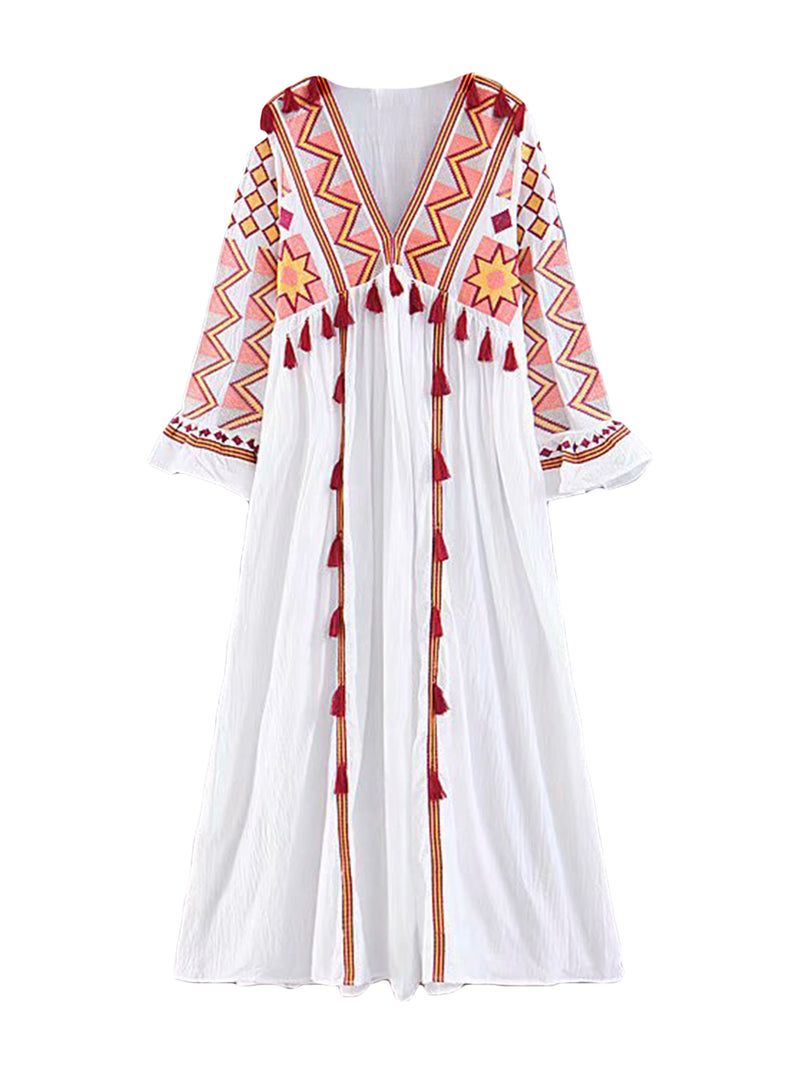 'Cumbie' Embroidered Tassel Down Dress (4 Colors)