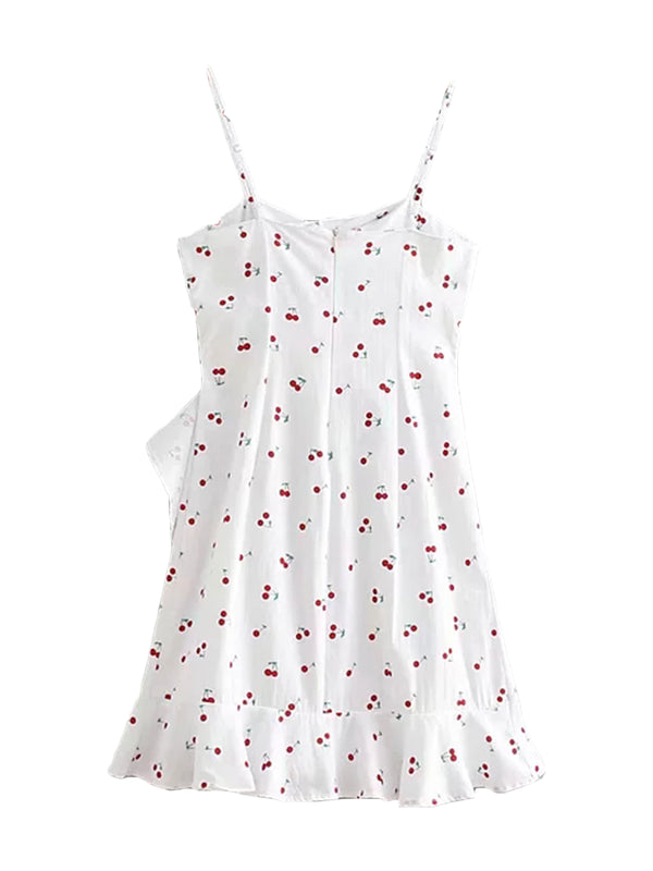 'Chebbe' Cherry Print Ruffled Wrap Mini Dress