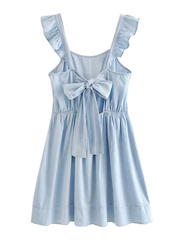 'Suenn' Chambray Back Tied Frilled Strap Mini Dress