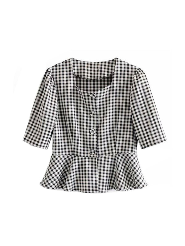 'Ricco' Gingham Peplum French Top (2 Colors)