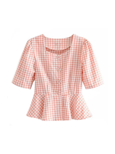 'ricco' Gingham Peplum French Top (2 Colors) by Goodnight Macaroon
