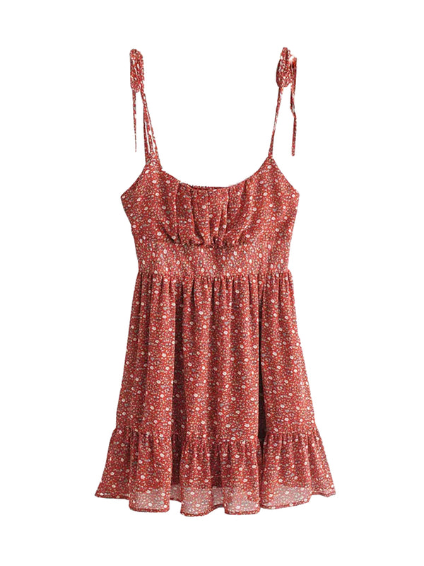 'Minnie' Floral Cinched Tied Strap Mini Dress
