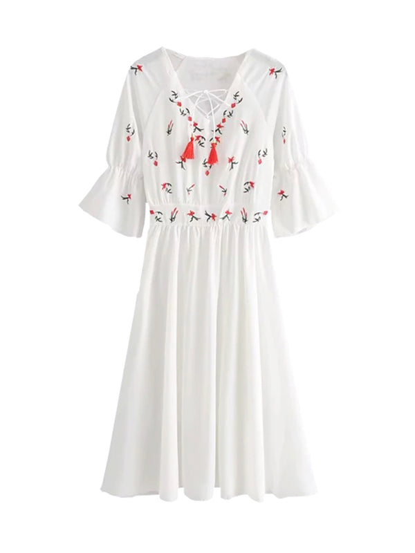 'Poppy' Lace-up Embroidered Flare Midi Dress