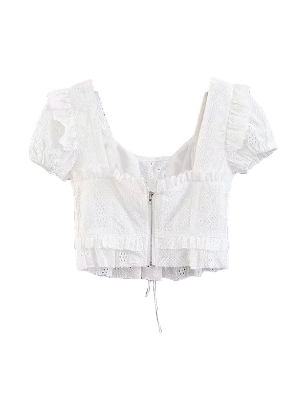 'Peony' Lace-up Eyelet Cropped Top