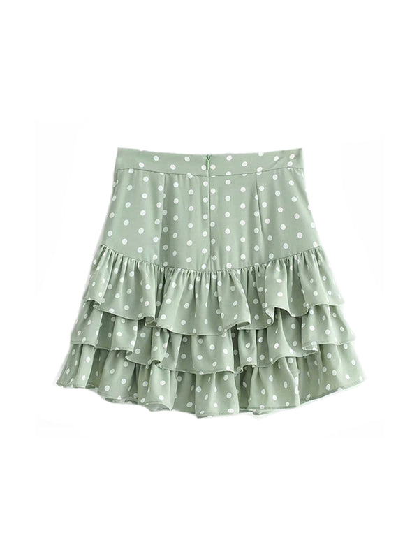 'Tammy' Polka Dot Layered Ruffled Mini Skirt