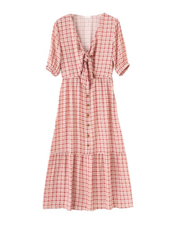 'Helen' Front Tied Plaid Maxi Dress