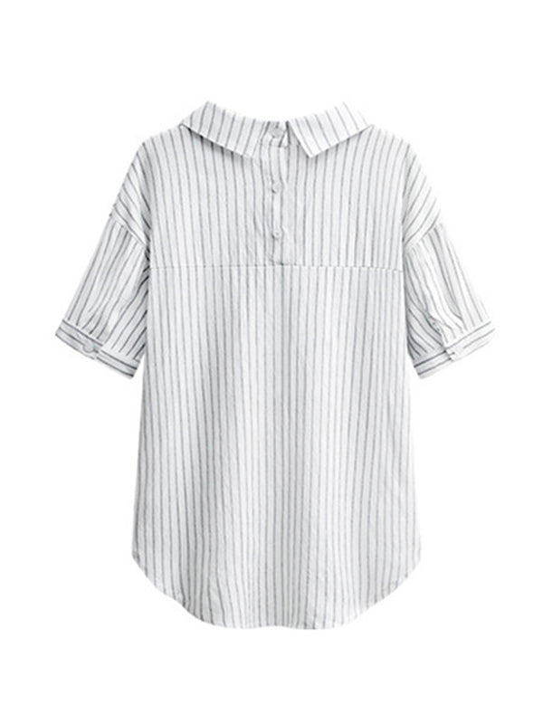 'Selly' Pinstripe Pocket Blouse