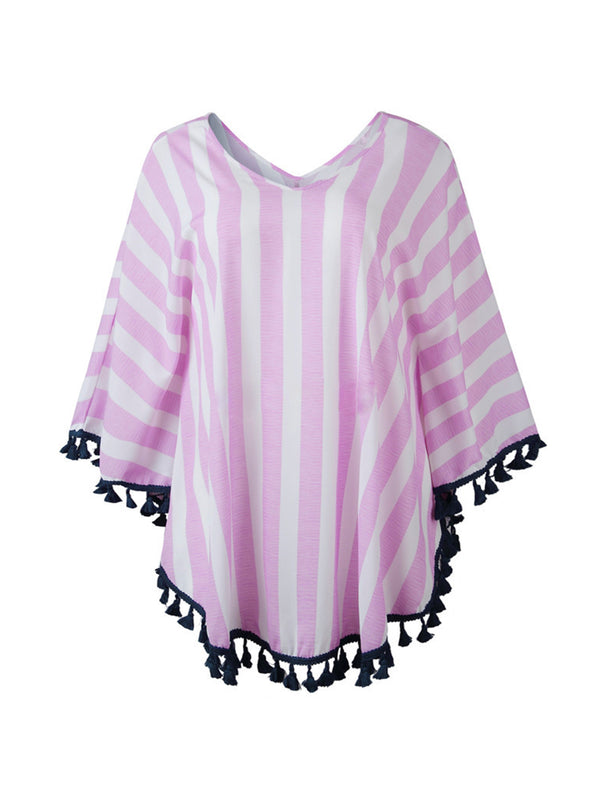 'Mia' Striped Tassel Cape Top (3 Colors)
