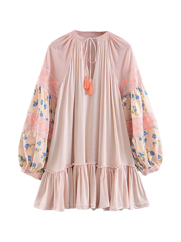 'Melanie' Nude Pink Embroidered and Floral Balloon sleeve Mini Dress with Tassel