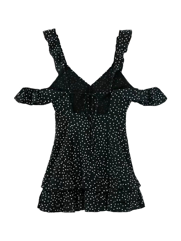 'Gianna' Polka Dot Cold Shoulder Ruffle Mini Dress