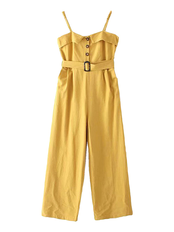 'Arabella' Button Front Belted Wide Leg Jumpsuit (3 Colors)