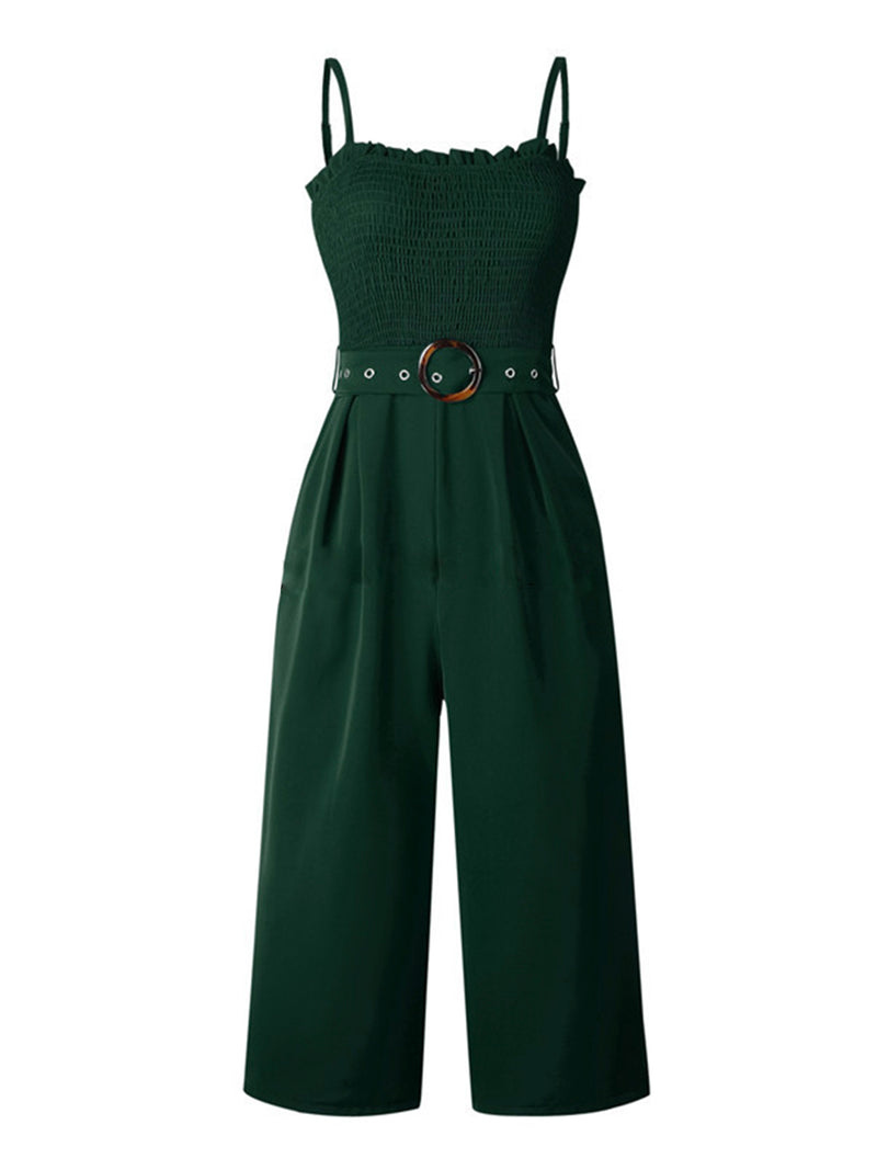 'Elliana' Strap Ruched Jumpsuit with Belt (3 Colors)