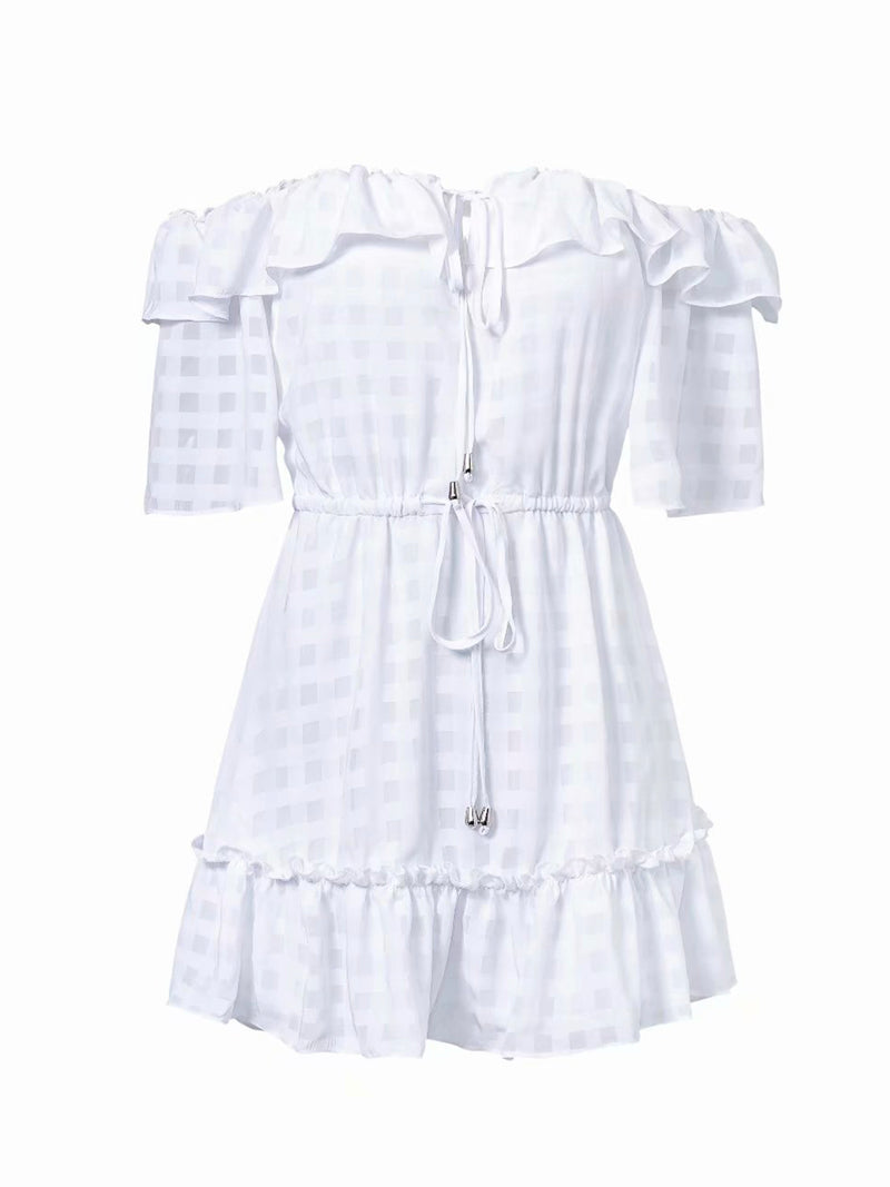 'Lyla' Off the Shoulder Ruffle Tied Waist Checked Mini Dress