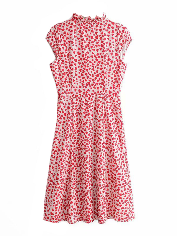 'Ryleigh' Heart Print Button Front Short Sleeves Midi Dress