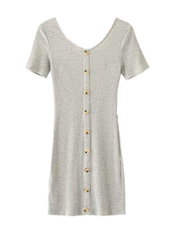'Kimia' Buttoned down Short Sleeves Dress (5 Colors)