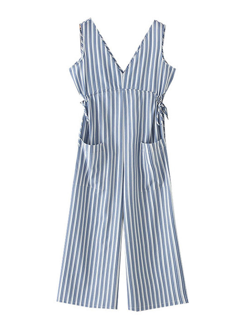 'Hindy' Striped Tied Waist Pocket Jumpsuit