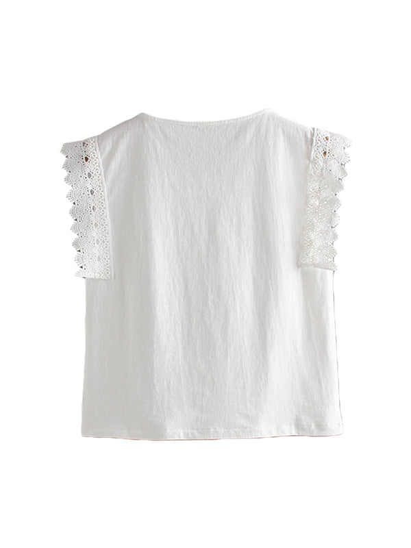 'Luxy' Lace Pleated Sleeveless Top