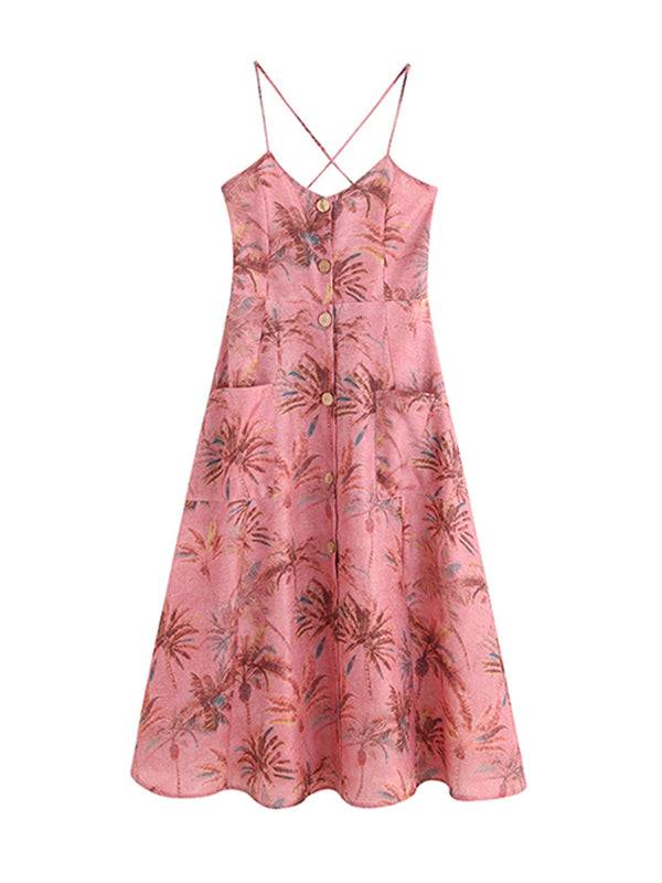 'Chantel' Palm Print Back Tied Flare Dress