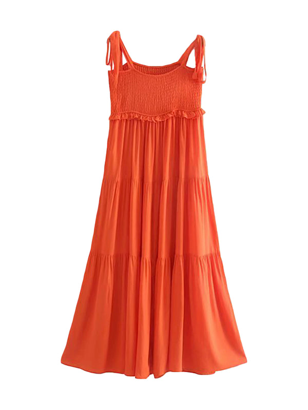 'Kiki' Tied Strap Ruched Maxi Dress