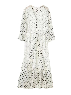 'Jeanne' Ruffle Polka Dot Heart Print Maxi Dress