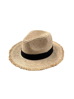 'Mooney' Rattan Raw Hem Hat