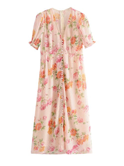'Ann' Floral V-neck Buttoned Floral Maxi Dress