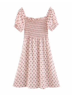 'Pinky' Off Shoulder Floral Ruched Flare Dress