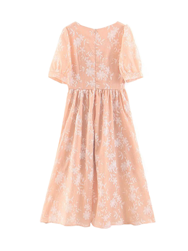 'Yann' Embroidered French Flare Dress