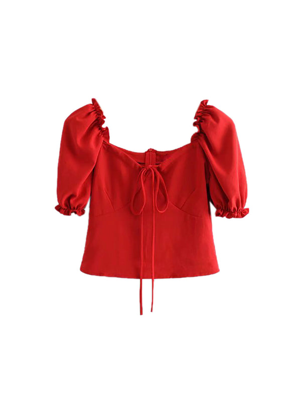 'Tami' Off Shoulder Tied Ruched Sleeves Top